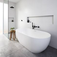 Everybody loves a free standing bath. This great project was beautifully built b… Everybody loves a free standing bath. This great project was beautifully built by Styled by & Photo Bathroom Renos, Laundry In Bathroom, Bathroom Layout, Modern Bathroom Design, Bathroom Interior Design, Bathroom Renovations, Master Bathroom, Shower Bathroom, Modern Bathtub