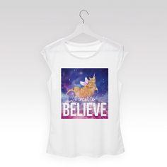 Tričko mini rukáv Cat unicorn believe bílé