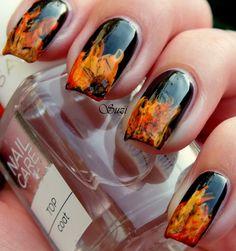 Fire nail art - BLACK nail polish with orange and yellow tips - NAILS - design
