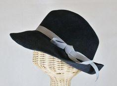 Bacall velour felt women's fedora in charcoal grey ~ 1930s glamour, Lauren Bacall, rain hat ~ handmade by Bonnet, local Portland millinery