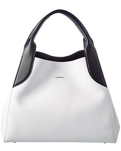 Lanvin Cabas Medium Leather Shoulder Bag In White/black Nude Bags, Expensive Handbags, Medium Bags, Leather Shoulder Bag, Shoulder Bags, Lanvin, Purses And Handbags, White Leather, Coin Purse