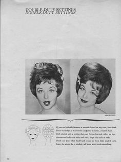 Hair Do how-to 1963 1960 Hairstyles, Vintage Hairstyles, Hair Patterns, Art Inspo, Hair Roller, Retro, Hair Styles, October, Tutorials