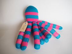 Striped sock octopus sock monkey soft plush toy by lostsockshome