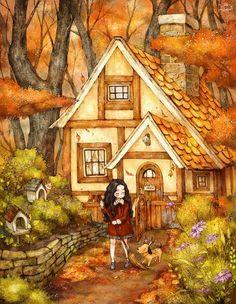계절 내내 땅 위로 떨어져 내린 시간의 흔적들. 겨울이 오기 전에 어서 길 한켠으로 쓸어 두어요. Sweeping aside traces of time that has piled up all autumn long as we usher in winter.