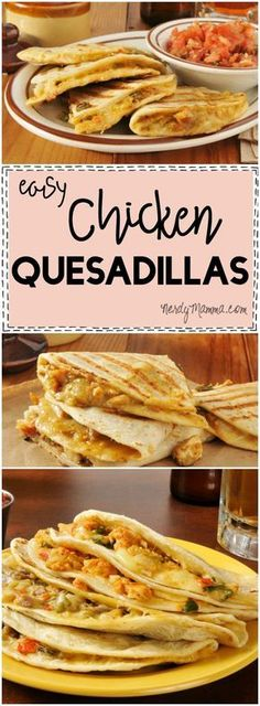 I LOVE this recipe for easy chicken quesadillas! So simple--and they sound so awesome.
