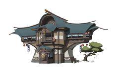 ArtStation - 房子设计, ZE 黄 Landscape Concept, Landscape Artwork, Fantasy Landscape, Fantasy City, Fantasy House, Fantasy World, Asian Architecture, Concept Architecture, Fantasy Concept Art