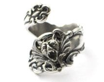 Sterling Silver Plated Gargoyle Spoon Ring Amazing Details High QuAlity
