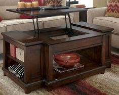 Rustic Lift Top Coffee Table| KF I would paint the sides a lighter color like gray and paint the top black