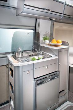 Compact camper van kitchen