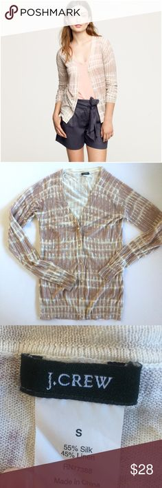 """J. Crew silk and linen cardigan Beautiful tie dye printed sweater in pale pink and cream. Button front. Lightweight silk and linen blend. The care tag is cut out but I hand wash and lay flat to dry. Measures  16.5"""" from underarm to underarm and 25"""" long. J. Crew Sweaters Cardigans"""