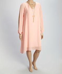Look at this #zulilyfind! Peach V-Neck Shift Dress & Necklace - Plus #zulilyfinds