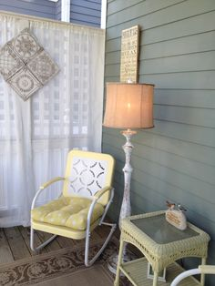 My back porch off my garden. I found these retro metal chairs at a flea market and restored them to their vintage beauty.