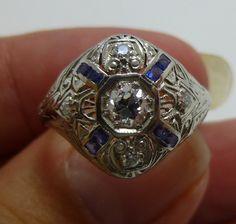 ART DECO Antique Platinum Old European Cut Diamond by gems4borth