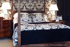 Adamsleigh Showhouse: China Blue & White Bedroom Design by Robert Brown | The Decorating Diva, LLC