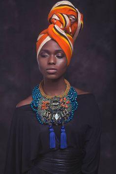 Brand: Anita Quansah London Designer, amazing neck piece and turban African Inspired Fashion, African Fashion, Ghanaian Fashion, African Style, Men's Fashion, Ankara Fashion, African Attire, African Dress, African Crown