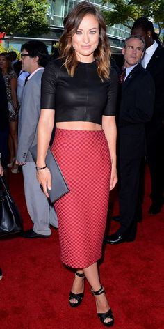 Look of the Day: July 18, 2013 - Olivia Wilde : InStyle.com, #fashionablecelebs #style #celebrity At the ESPY Awards, Olivia Wilde bared her midriff in a two-piece A.L.C. design: a leather crop top and a red checkered midi skirt. A Rona Pfeiffer skinny cuff, gray clutch and black strappy Jerome C. Rousseau heels completed her look.