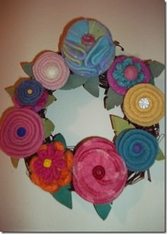 Beautiful Wool Felt Flower Wreath made from recycled wool sweaters