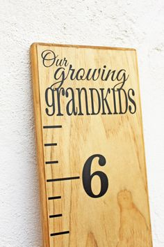Growth Chart Ruler Add-OnOur Growing Grandkids by LittleAcornsByRo Growth Chart Wood, Height Ruler, Growth Chart Ruler, Growth Charts, Homemade Baby Gifts, Wood Crafts, Diy Crafts, Height Chart, Kids Wood