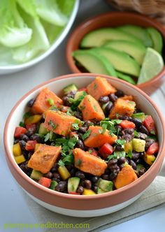 Clean Eating: Smoky Sweet Potato and Black Bean Salad by Plant-Powered Kitchen. Dreena serves up some delicious, clean eats with this Smoky Sweet Potato and Black Bean Salad - try her serving suggestions for lunch and dinner! Bean Salad Recipes, Healthy Recipes, Clean Eating Recipes, Whole Food Recipes, Diet Recipes, Healthy Snacks, Vegetarian Recipes, Healthy Eating, Cooking Recipes