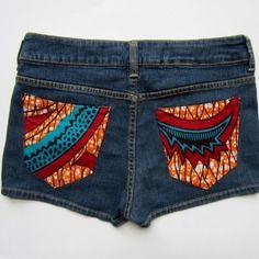 Short jean court personnalisé de poches en tissu wax africain