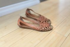 vintage woven tan leather hurache wood wedge sandals womens 8