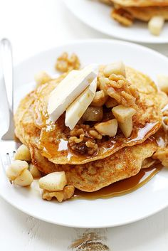 fullcravings: Apple, Walnut and Brie Bread Pudding Pancakes ? Brie, Crepes, Brunch Recipes, Breakfast Recipes, Burger Recipes, A Food, Food And Drink, Little Lunch, What's For Breakfast
