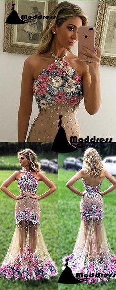 a7821d2105109 Chic Prom Dresses Mermaid Hand-Made Halter Backless Flower Long Evening  Dress,HS315 #