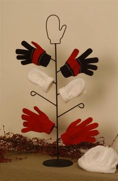 Handmade Wrought Iron Mitten Tree dries mittens, gloves and socks quickly.