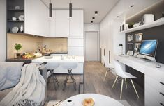 Small Apartment Design, Apartment Interior Design, Bungalows, Small Appartment, Minimalist Interior, Small Spaces, Living Room Decor, Kitchen Decor, House Plans