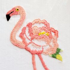 Hand embroidery pattern, Modern hand embroidery patterns, flamingo embroidery, floral embroidery, flower embroidery - Floralmingo Pink