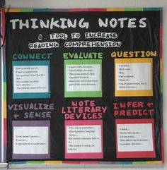 High school English bulletin board thinking notes/annotation prompts-so making this board! Ela Classroom, Middle School Classroom, English Classroom, Classroom Ideas, Classroom Inspiration, Classroom Board, Classroom Walls, Future Classroom, English Bulletin Boards