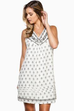 Teagan Dress / Shop Sosie #shift #dress #sleeveless #vneckline #breezy #slihouette #embroidery