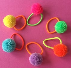 Neon pom pom hair bands pack of 6 by NEONLUMIDESIGN on Etsy