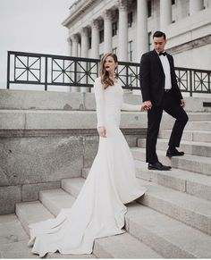 modest wedding dress with long sleeves from alta moda bridal (modest bridal gowns) photo by @alaynag.photo