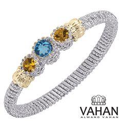 6 mm bracelet made of 14k gold, sterling silver, blue topaz and diamonds. Style # 22105DCITBT #VAHAN #VahanStyle #Gold #Silver #Blue #Gems