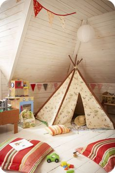 Kids Tee Pee - I love the idea of having a little tee pee in the playroom.....maybe in a reading corner.