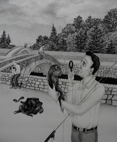 "https://flic.kr/p/oZGa1L | Fishing | Charcoal and graphite drawing, 11"" x 13.25"", 2014."