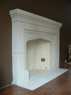 Tudor Arch Fireplace -- Tudor Artisans Inc. White Fireplace, Fireplace Hearth, Modern Fireplace, Fireplace Surrounds, Stone Fireplaces, Fireplace Ideas, Tudor Cottage, English Architecture, Home Library Design
