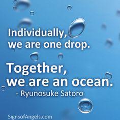 Individually, we are one drop. Together, we are an ocean. ~ Ryunosuke Satoro