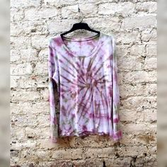 Long Sleeve Tshirt Womens Tie Dye Shirt Khaki & Burgundy to fit UK size 20 or US size 16 Fall Fashion Gifts for Her