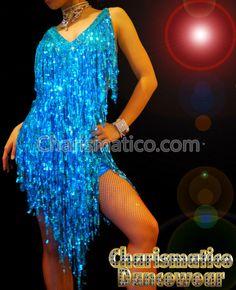 Charismatico Dancewear Store - Blue Shiny SALSA Latin DANCE Dress, $180.00 (http://www.charismatico-dancewear.com/products/Blue-Shiny-SALSA-Latin-DANCE-Dress.html)
