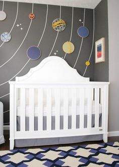 Embroidery Hoop solar system mural. So rad! Sure, it's shown in a baby's room, but I think it'd be awesome in any room. #space #solarsystem #astronomy