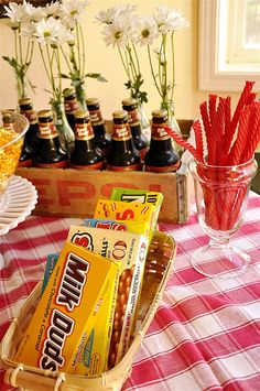 popcorn bar with candy... include popcorn add-ins like M (my fav :))