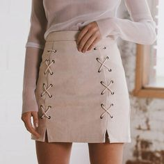 Stylish Autumn Suede Pencil Skirt