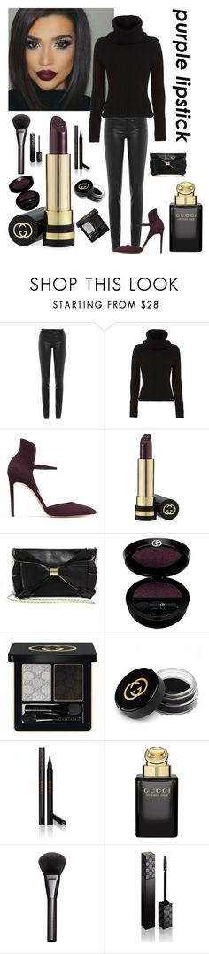 """""""Bold PURPLE lips!!!"""" by kotnourka ❤ liked on Polyvore featuring beauty, Helmut Lang, Intermix, Casadei, Gucci, Judith Leiber and Giorgio Armani"""