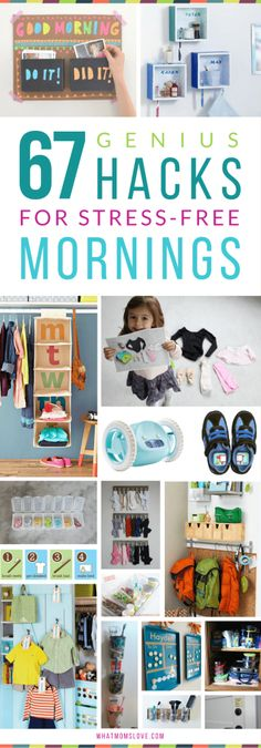 Want to make mornings easier? Check out this long list of hacks that will make the AM rush more efficient for you and your child. #mycampt #organization #hacks #lifehacks #kids #parenting