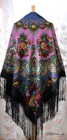 Павловопосадская шаль Майя - 18 ***Павловопосадские платки и шали / Russian Pavlovo Posad shawls