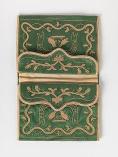 RISD Museum: Unknown artist, French. Purse, late 18th century. silk. 10.8 x 14.6 cm (4 5/16 x 5 13/16 inches). Gift of William McCue 1988.082.12