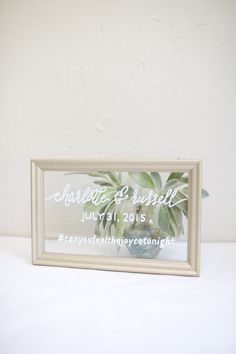 Framed glass wedding sign with names, date and hashtag. #canyoufeelthejoycetonight #freegift