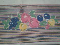 Vintage fruit tablecloth - striped tablecloth - multi colored tablecloth - rectangle tablecloth - spring decor - spring tablecloth - summer
